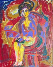 HRASARKOS - Painting - Femme assise