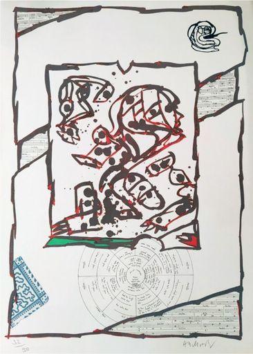 Pierre ALECHINSKY - Grabado - Chutes et panaches, avec extraits de partitions labyrinthiqu