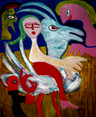 Norbert DE JONG - Pintura - Spelen met Vogel (Cat N° 4302)