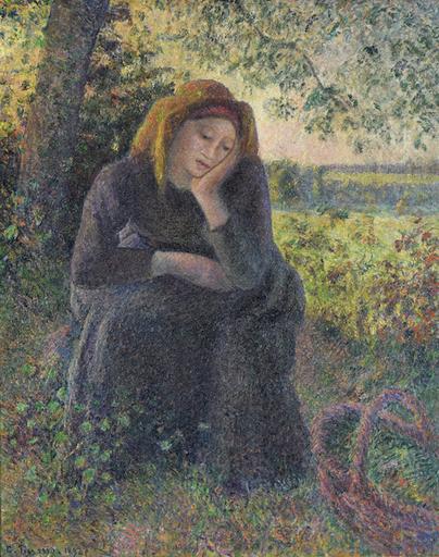 Camille PISSARRO - Peinture - Paysanne Rêveuse Assise, Soleil Couchant