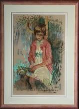 Paul COLLOMB (1921-2010) - jeune fille au bouquet de fleurs