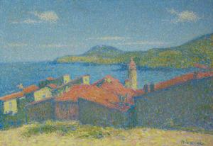 Achille LAUGÉ - Pintura - Collioure les toits rouges