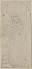 "Friedrich KAULBACH - Dibujo Acuarela - ""Medieval Scene"", 19th Century"