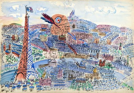 拉奥尔•杜飞 - 水彩作品 - Le Coeur, le Palais et le Ventre de Paris