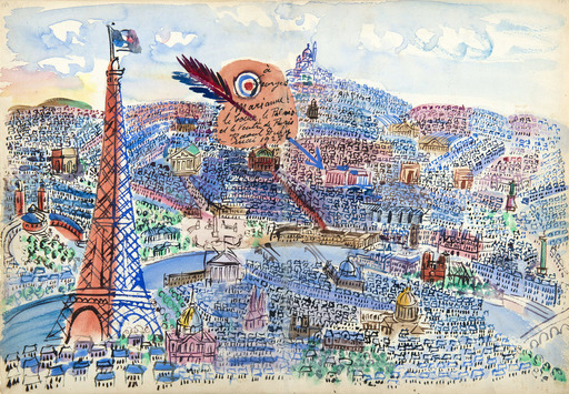 Raoul DUFY - Drawing-Watercolor - Le Coeur, le Palais et le Ventre de Paris