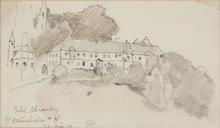 "Edward Harrison COMPTON - Dibujo Acuarela - ""View of the Castle Ehrenburg in Bavaria"" drawing"
