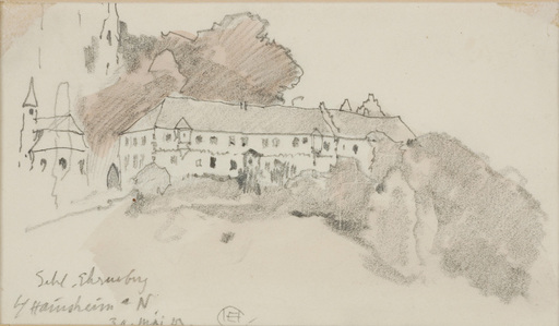 """Edward Harrison COMPTON - Drawing-Watercolor - """"View of the Castle Ehrenburg in Bavaria"""" drawing"""