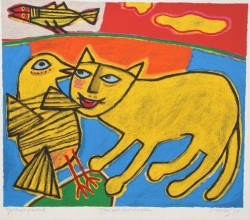 CORNEILLE - Grabado - Jeux entre chat et oiseau