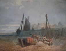 Paul MARNY - Dessin-Aquarelle - Pêcheurs demâtant près d'un port