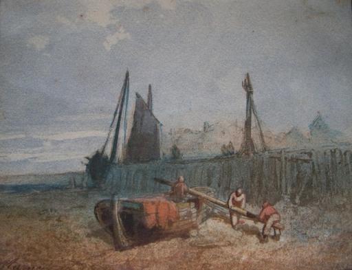 Paul MARNY - 水彩作品 - Pêcheurs demâtant près d'un port