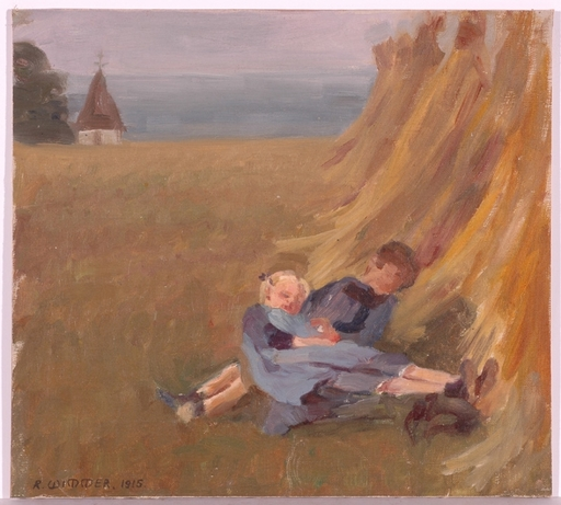 "Rosa WIMMER - Dessin-Aquarelle - ""Resting Children"", Oil Painting"