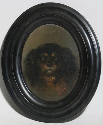 """Hippolyte LEBAS - Painting - portrait du chiot """"Fanny"""""""