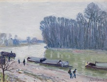 Alfred SISLEY (1839-1899) - Péniches sur le Loing