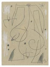 胡安·米罗 - 水彩作品 - Femme, oiseau, étoile,constellation