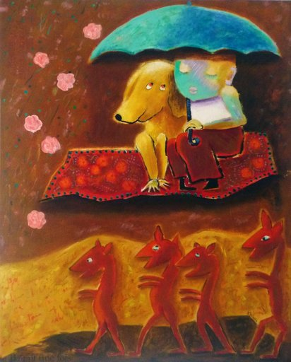 Danielle LE BRICQUIR - Painting - Pluie de roses