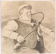 "Edmund HARBURGER - Dessin-Aquarelle - ""Pipe Smoker"", Drawing, ca 1900"