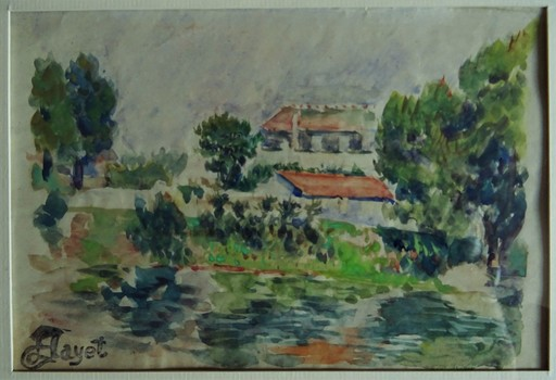 Louis HAYET - 水彩作品 - Bords de rivière, l'Oise c.1888/95