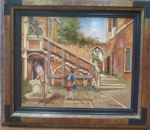 "Georges COROMINAS - Peinture - Palais Contarini  "" Porta di Ferro"""
