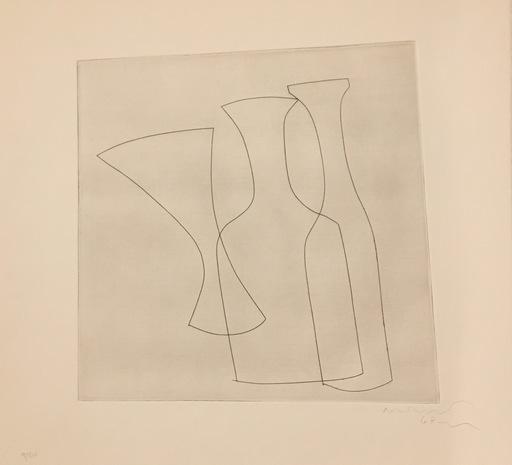 Ben NICHOLSON - Grabado - Two Bottles and a Glass