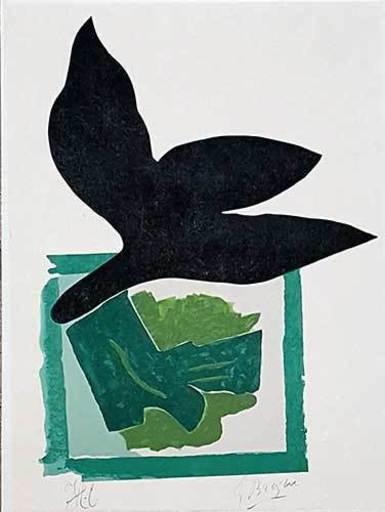 Georges BRAQUE - Grabado - Oiseau noir sur fond vert