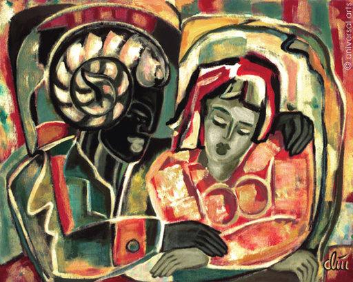 Jacqueline DITT - Painting - Díe Umarmung (The Embrace)