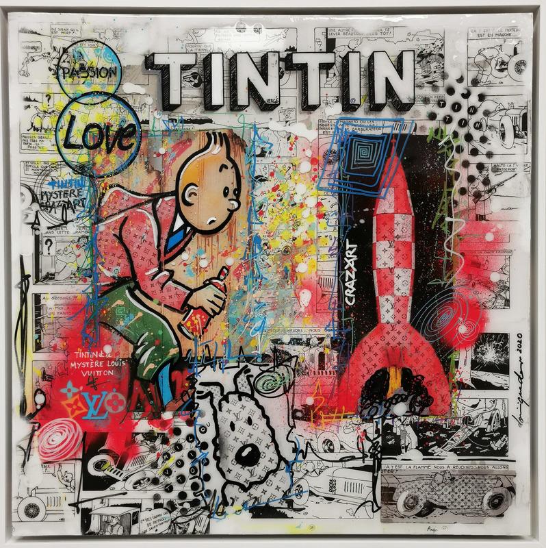 Dominique DOERR - Peinture - Crazy art Tintin