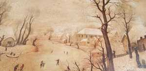 Hendrick AVERCAMP - Gemälde - Winter landscape with bird-trap