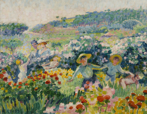 Henri Edmond CROSS - Pittura - La haie de roses