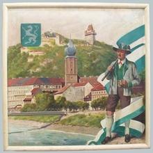 "Josef BRUNNER - Painting -  ""Graz in Austria"", Oil Painting, 1930's"