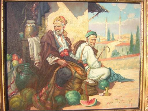 Jan KAMENICKY - Pintura - Orientalist, zwei Orientaler beim Warenverkauf