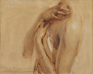 Paul Emile CHABAS - Painting - Étude de buste féminin pour Jeune fille au bain