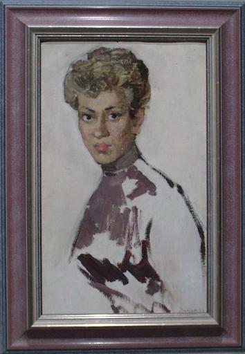 "Elena Vatslovana YANCHAK - Peinture - ""Portrait of a Girl"" by Elena Yanchak, Oil Painting, 1958"