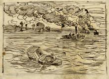 Charles François DAUBIGNY (1817-1878) - Les bateaux à vapeur, 1 of 23 drawings for Voyage en bateau