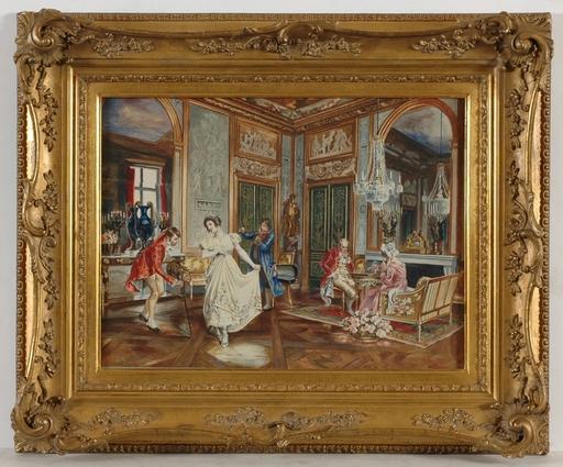 """Giuseppe SIGNORINI - Dibujo Acuarela - """"The Dance Lesson"""" watercolor, late 19th century"""
