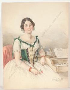 "Friedrich WOLF - Miniatur - ""Portrait of a woman by piano"", watercolor, 1852"