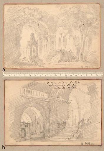 Alessandro MILESI - Dibujo Acuarela - Due Capricci di Paesaggio