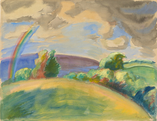 Erich HECKEL - Drawing-Watercolor - At the Ford | An der Förde