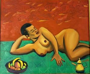 Jacques DE LOUSTAL - Peinture - femme noire alanguie