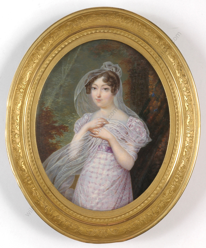 "Jean Baptiste ISABEY - Miniature -  ""Young Lady in Park"", outstanding large miniature!!, ca.181"