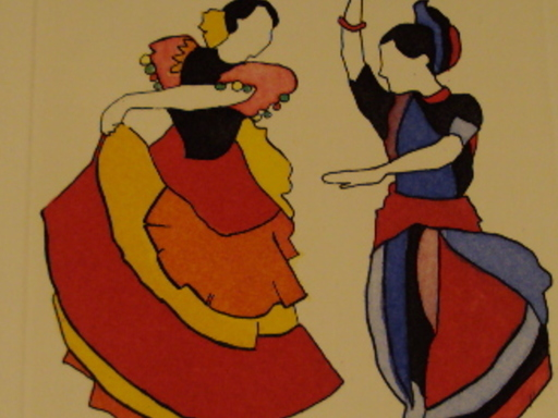 "Floriano BODINI - Estampe-Multiple - ""Les Danseuses de Flamenco"""