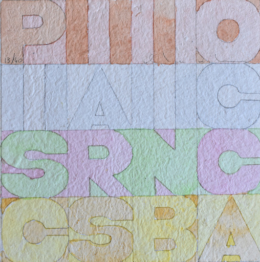 Alighiero BOETTI - Drawing-Watercolor - Pissing in the Mouth, from: Nine Squares