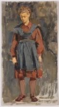 "Vladimir Grigor'evic VLASOV - Pintura - ""Schoolgirl"", Oil Painting, 1953"