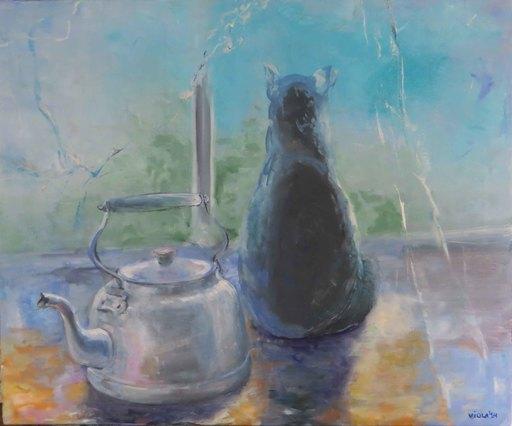 Violetta MALATERRE - Peinture - Le chat et la bouilloire
