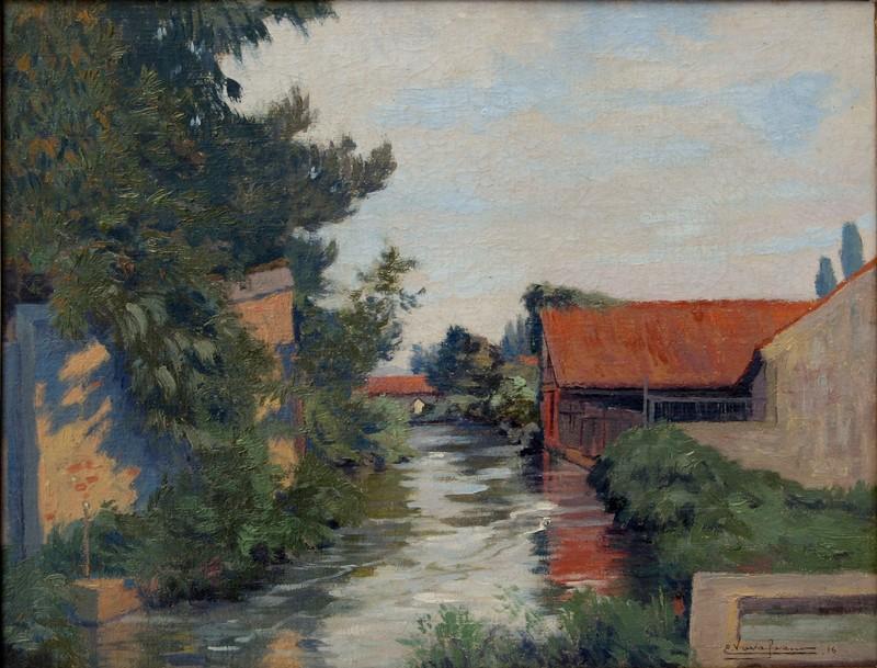 Eugène VAVASSEUR - Painting - VIC EN BIGORRE, LE CANAL