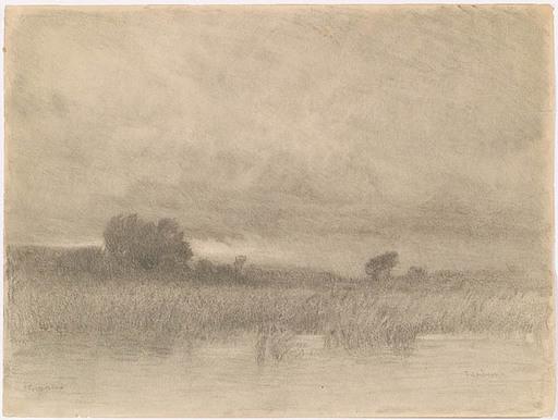 """Thomas LEITNER - Zeichnung Aquarell - """"Evening"""", ca 1900"""
