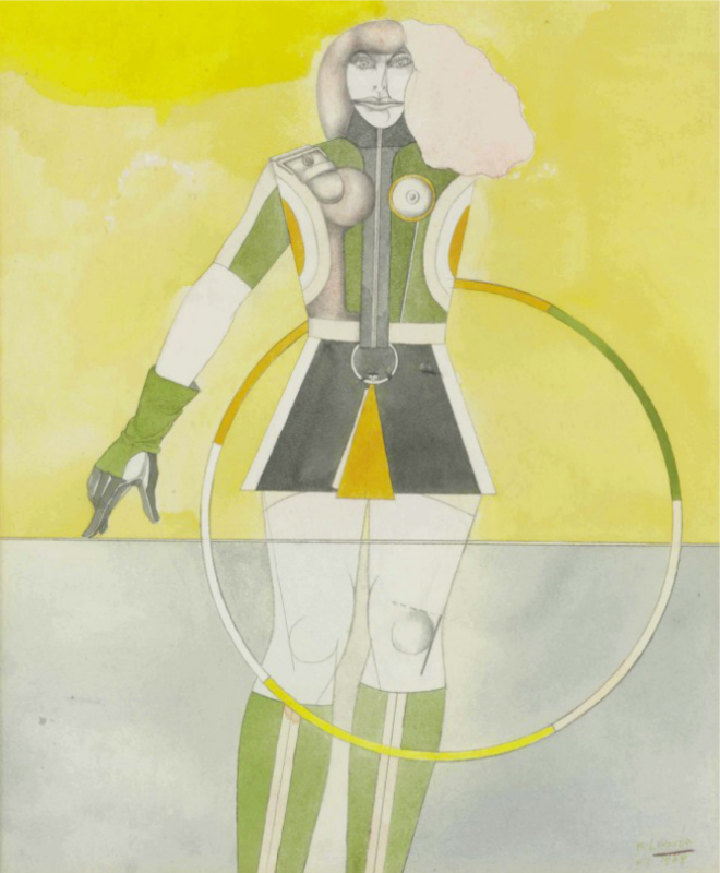 Richard LINDNER - Drawing-Watercolor - Girl with Hoop