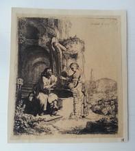 REMBRANDT VAN RIJN - Grabado - Christus und die Samariterin, inmitten Ruinen (Bartsch 71. W