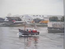Edmond DAYNES - Painting - Sortie du port à Honfleur.
