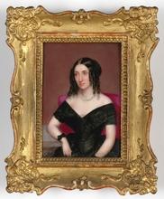 """Josef ZASCHE - Painting - """"Portrait of a Lady"""" large miniature on porcelain"""