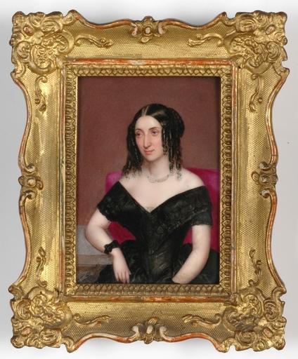 "Josef ZASCHE - Pittura - ""Portrait of a Lady"" large miniature on porcelain"